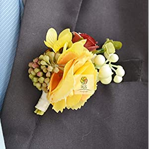 Artificial and Dried Flower Boutonniere Branches Mix Colors Corsage Pin Groom Anemone Groomsman Party Prom Wedding Flowers Wedding Rose Hydrangea