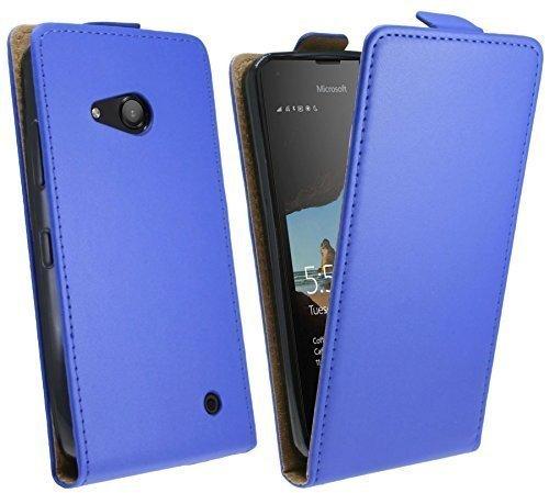 ENERGMiX Klapptasche Schutztasche kompatibel mit Microsoft Lumia 550 in Blau Tasche Hülle