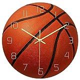 IMIKEYA Sport Wall Clock Creative Basketball Shape Number Wall Clock Mute Movement Wall Clock for Living Room Bedroom Decorative
