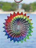 Kinetic 3D Metal Garden Wind Spinner (Rainbow Star)