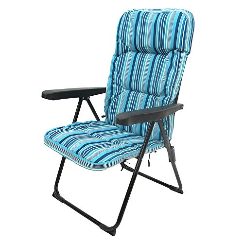 LOLAhome Sillón Plegable con Acolchado de Acero de Camping o Playa Garden (Azul)