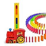 Trenino elettrico per bambini, con tessere domino, con effetti acustici e ottici automatici