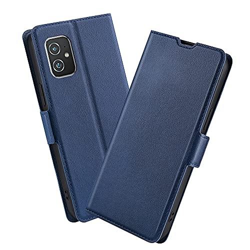 XINNI Handyhülle für Asus Zenfone 8 Hülle, PU/TPU Retro Klappetui Schutzhülle Flip Magnetisch Handyhülle, Blau