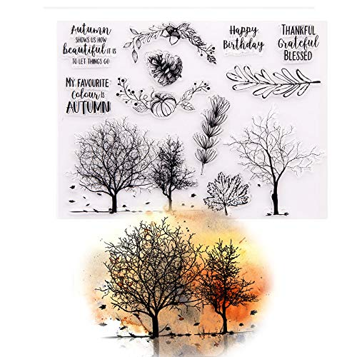 Autumn Trees Pine Nuts Pumpkin Clear Rubber Stamps Card Making Scrapbooking Words My Favourite Colour is Autumn Thankful Grateful Blessed Thanksgiving Stamps