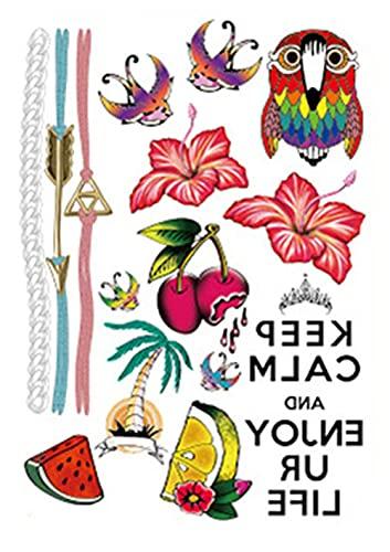 Pulsera Cadena Amor Flor Y Pájaro Figura 15x21cm-10Pcs Tatuajes Falsos Pegatina De Arte Corporal Tatuaje Temporal A Prueba De Agua Falso Cuerpo Brazo Pecho Hombro Tatuajes Transferencias Para Chicos