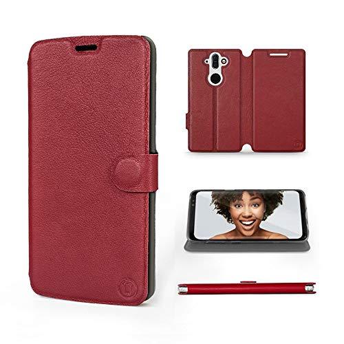Mobiwear | Echt Lederhülle | Kompatibel mit Nokia 8 Sirocco, Made in EU handyhülle, Slim Leather Hülle, Premium Flip Schutzhülle, Transparent TPU Silicon, Book Style, Tasche - Dunkelrotes Leder