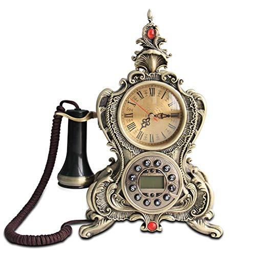 DNSJB telefono Retro, decoración casera Antigua Teléfono Fijo Estilo Vintage Dial Mesa de Escritorio Oficina en casa Cable en Espiral Teléfono/Botón de marcación (Color : Bronze Color)