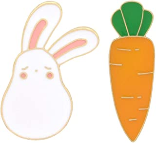 Charmart Rabbit Carrot Lapel Pin 2 Piece Set Cute Bunny Animal Enamel Brooch Pins Badges Clothes Accessories Gifts