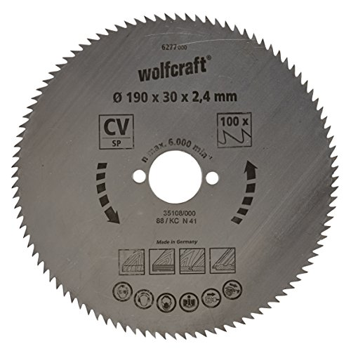 wolfcraft 6277000 | Handkreissägeblatt CV | Serie blau | 100 Zähne | ø190mm