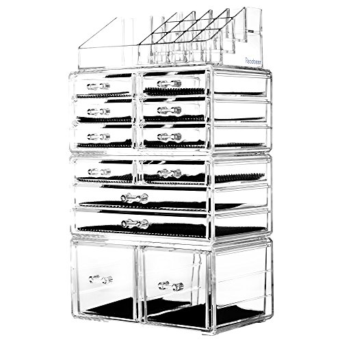 Readaeer Acrylic Makeup Cosmetic Organizer Storage Drawers Display Boxes Case (Clear)