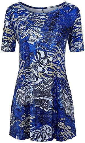 DamonRHalpern Fashion Womens Casual Floral Print Shirts 3/4 Sleeves O-Neck Tunic Blouse Tops