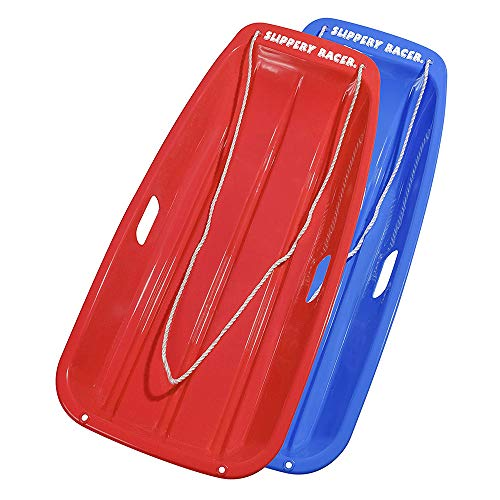 Slippery Racer Downhill Sprinter Flexible Plastic Winter Toboggan Snow Sled with Pull Rope for 1 Adult or Kid Rider, Red/Blue (2 Pack)