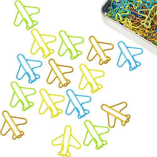 80 Pieces Airplane Paper Clips in A Tin Can, Cute Plane Paperclips, Multi Colors, Clip Holder, Bookmarks School Office Supplies Present for Staff Students Pilots Flight Attendants Travel Agents