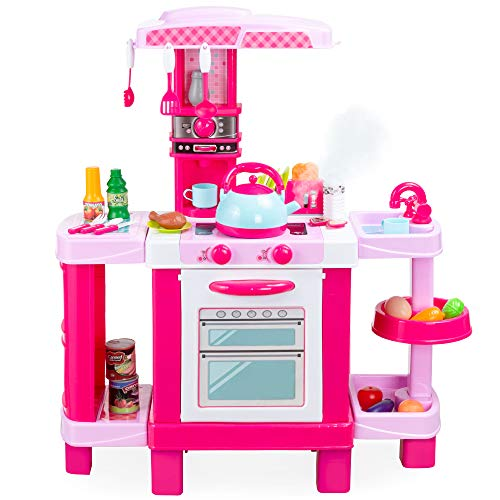 Best Choice Products Pretend Play Kitchen Toy Set for Kids with Water Vapor Teapot, 34 Accessories, Sounds, Realistic Design, Utensils, Oven, Food, Sink - Pink