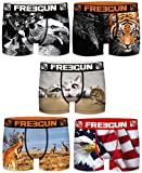FREEGUN Lot 5 Boxers Enfant Microfibre FGP81 (10-12 Ans)
