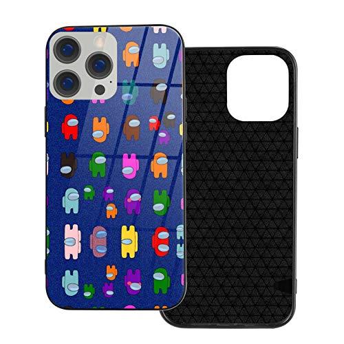 Among Us - Carcasa de cristal para iPhone 12, diseño de dibujos animados, bordes suaves, cobertura de 360 grados, protección transparente para trabajador Ip12pro Max-6.7, color blanco