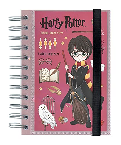 Agenda Scolaire 2021 2022 Harry Potter, Petit Format   En Français - de Septembre à Juin   Agenda Journalier Avec Spirale 11,4 x 16 cm   Kalenda By Grupo Erik
