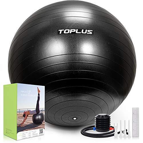 TOPLUS Gymnastikball Sitzball Extra Dicker Yoga-Ball-Stuhl, Anti-Berst-Stabilitätsball für hohe Beanspruchung, Balance Ball mit Schnellpumpe-Schwarz&45cm