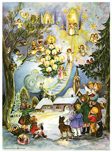 Richard Sellmer Verlag Nostalgischer Adventskalender / Weihnachtskalender mit Bildern und Glimmer Seht die Himmelsleiter