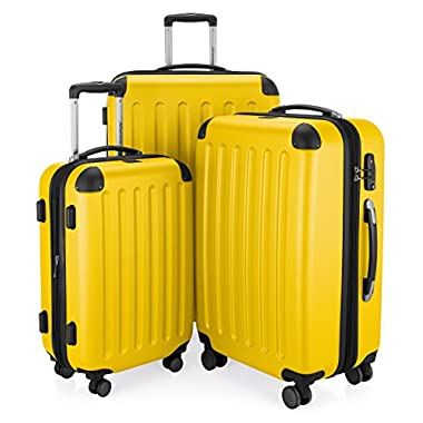 HAUPTSTADTKOFFER Luggages Sets Glossy Suitcase Sets Hardside Spinner Trolley Expandable (20', 24' & 28') TSA (Spree Yellow)