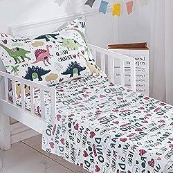 4. Joyreap White Toddler Dinosaur Bedding Set