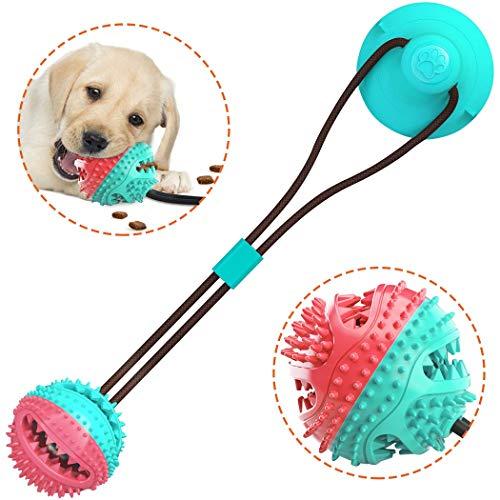 Vijamiy Pelota de Juguete al Aire Libre para Perros Juguete Multifunction Pet Molar Bite Toy para Mordedura de Molar para Mascotas con Ventosa para Masticar Limpiar los Dientes Perros y Gatos (Azul)