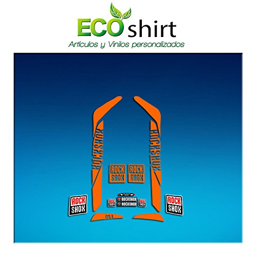 Ecoshirt Z3-YFW8-RII1 Pegatinas Stickers Fork Rock Shox Rs1 2017 Am173 Aufkleber Decals Autocollants Adesivi Forcela, Naranja