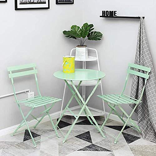 kaige Muebles de jardín Conjuntos de 2 plazas Mesa con Sillas 3 / Piezas Plegable, Plegable Resistente a la Intemperie a Prueba de Agua, for el balcón, jardín, Patio WKY (Color : Green)