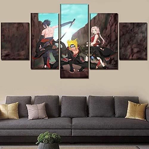 Lienzo Impreso 5 Piezas Cuadro De Tela Casa Decoración Colgando Pintura Cuadros Modernos Impresión De Imagen Óleo Cuadros Pintura De Papel De Naruto Sin Marco