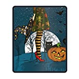Custom Mouse Pad Gaming Mat Halloween Night Witch with Wizard Hat Waterproof Non-Slip Personalized Rectangle Mouse pad