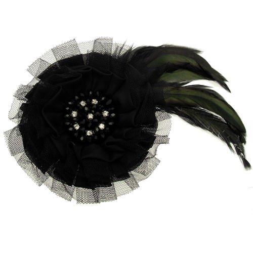Acosta - de color negro y cuentas de cristal de la pluma y de tejido de canasta gtranslator - broche/velo/pinza de pelo/accesorios