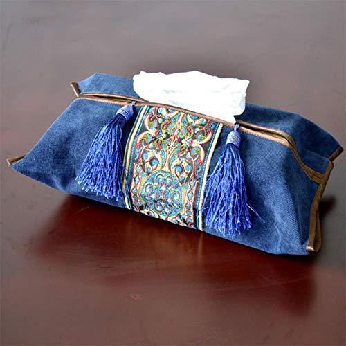 JUECAN Europese stijl geborduurde zakdoeken pompen doos papier servet cover houder opbergtas klassieke bruiloft kamer decoratie auto Hotel 24