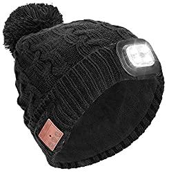 Powcan winter hat with light Wireless Bluetooth 5.0 Music hat 4 LED hat USB rechargeable caps for men women warm knitted hat