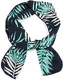 styleBREAKER pañuelo multifuncional de mujer estrecho con un colorido estampado de palmeras, cinta para el pelo, pañuelo, lazo, pañuelo de bolsillo 04026023, color:Azul oscuro-menta-blanco