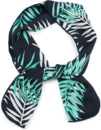 styleBREAKER pañuelo multifuncional de mujer estrecho con un colorido estampado de palmeras, cinta para el pelo, pañuelo, lazo, pañuelo de bolsillo 04026023