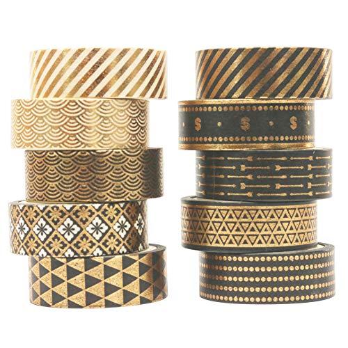 LSWL 10rolls / Set Black Gold Foil Washi Tape-Set Papier Festival DIY Scrapbooking Abdeckklebebandes...