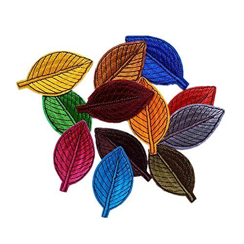 Soleebee Gemischt zufällig Patches Zubehör Aufbuegler Bügeleisen-auf oder Nähen-auf Aufnäher Applikation Applique Flicken Patches (12 Stück Blätter)