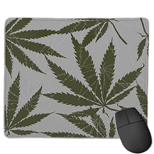 Gaming Mouse Pad Benutzerdefiniert,Mit Blättern von Hanf, Marihuana, Haschisch, Marihuana-Blatt, Cannabis-Pflanze,Office Rectangle rutschfeste Gummi-Mauspad für Computer Laptop 9.8