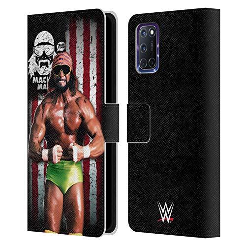 Head Case Designs Licenciado Oficialmente WWE Hombre Macho Randy Savage Bandera Americana Superstars Carcasa de Cuero Tipo Libro Compatible con OPPO A72