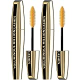 L'Oreal Paris Makeup Voluminous Million Lashes Mascara, Volumizing, Defining, Smudge-Proof, Clump-Free Lengthening, Collagen Infused Eye Makeup, Amplifying Mascara Brush, Blackest Black, 2 Count