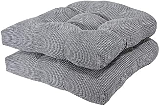 Arlee - Tyler Chair Pad Seat Cushion, Memory Foam, Non-Skid Backing, Durable Fabric, Comfort and Softness, Reduces Pressure and Contours to Body, Washable, 15.5 x 15.5 Inches (Alloy Gray, Set of 2)