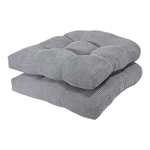 Arlee - Tyler Chair Pad Seat Cushion, Memory Foam, Non-Skid Backing, Durable Fabric, Superior Comfort and Softness, Reduces Pressure and Contours to Body, Washable, 16 x 16 Inches (Gray, Set of 2)