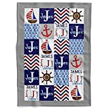 MDPrints Minky Monogrammed Personalized Baby Blankets - Custom Baby Blankets for Boys and Girls with Name - Soft Plush Fleece (LH-HA76, 30'x40')