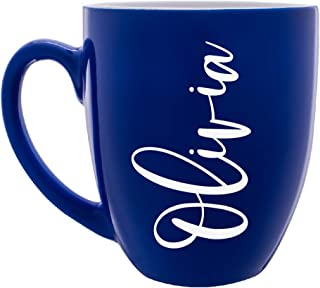 Personalized Coffee Mug w Name | 16oz - 7 Color | Engraved Custom Ceramic Coffee Cup - Personalized Birthday, Christmas Gift - Taza Personalizada, Your Own Text #C15
