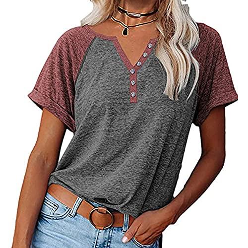 Primavera Y Verano Jersey Informal para Mujer Cuello En V Color A Juego Mangas RagláN Botones Camiseta Suelta De Manga Corta Tops Mujeres
