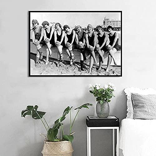 Crazystore Impresión en Lienzo 70x90 cm sin Marco Blanco y Negro Foto Retro Mujer natación Cartel nórdico salón Dormitorio decoración Imagen