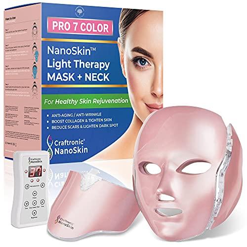 NanoSkin Pro 7 Color   Photon Light Therapy Beauty Device   Mask for Face & Neck Skin Rejuvenation   Professional In-home Salon (Pink)
