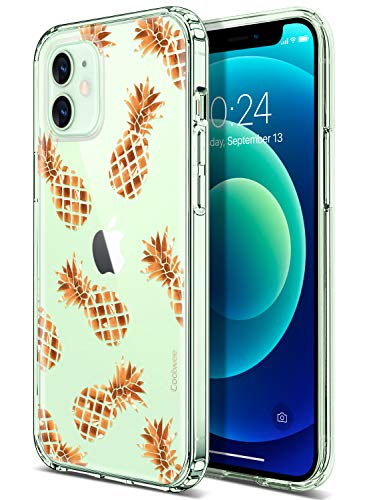 Coolwee for iPhone 12 Case Rose Gold Pineapple Floral Case for Women Girl Men Foil Clear Design Shiny Glitter Hard Back Case with Soft TPU Bumper Cover for Apple iPhone 12 6.1 inch Pineapple