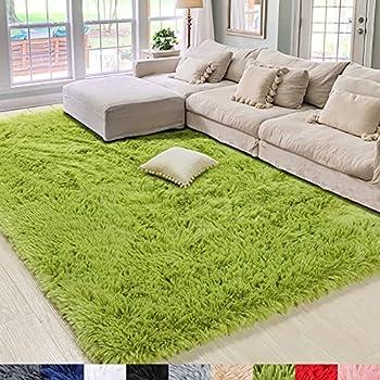 Amangel Green Fluffy Area Rugs Ultra Soft Shag Rugs for Bedroom Living Room 4  x 5.3  Nursery Home Decor Fuzzy Rugs Plush Rug for Kids Boys Girls Room Non-Slip Shaggy Indoor Modern Carpet