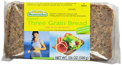 Mestemacher Bread, Three Grain, 17.6-Ounce Packages (Pack of 12)